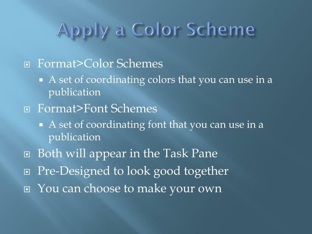 Apply a Color Scheme