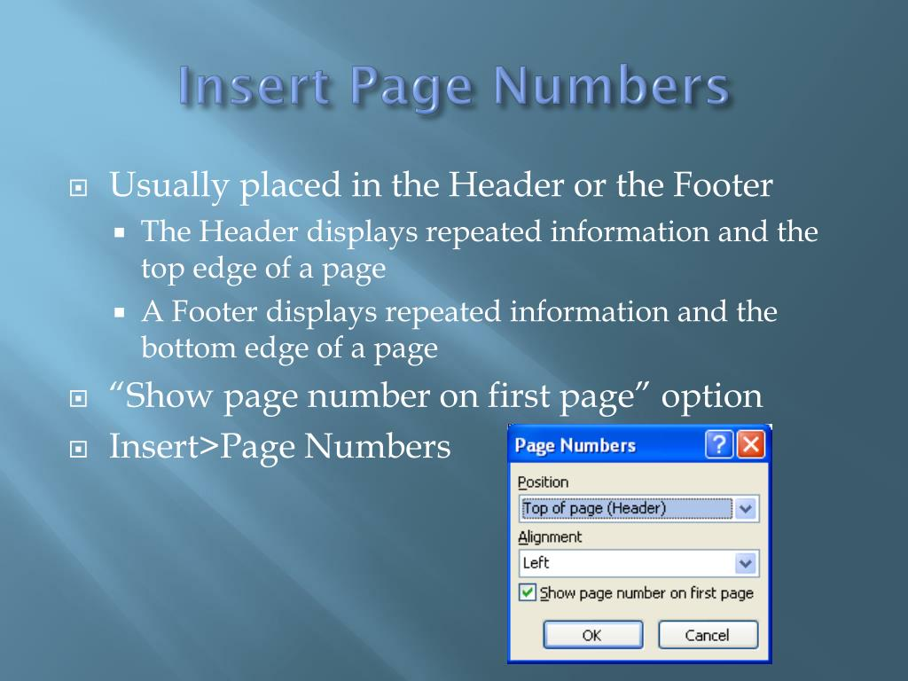 Insert Page Numbers