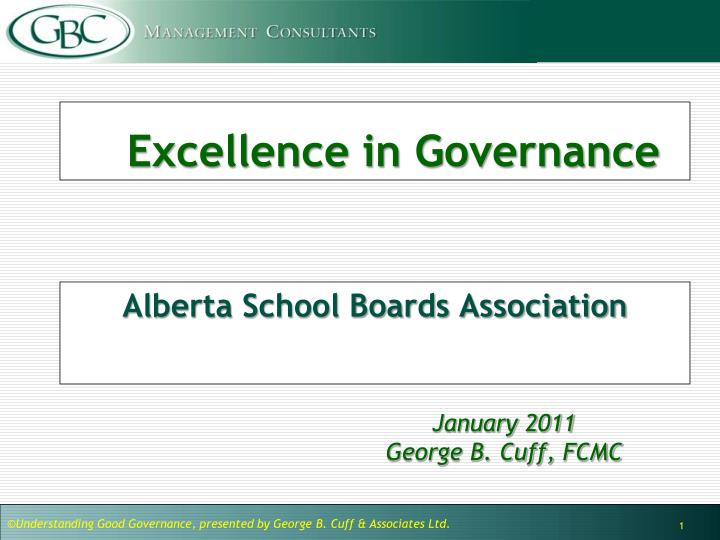 excellence in governance n.