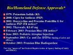 bio homeland defense approvals