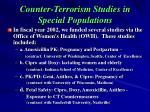 counter terrorism studies in special populations