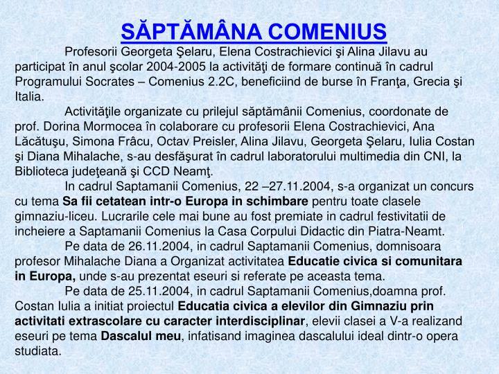 SĂPTĂMÂNA COMENIUS