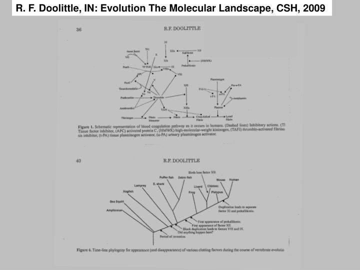 R. F. Doolittle, IN: Evolution The Molecular Landscape, CSH, 2009