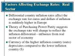 factors affecting exchange rates real sector