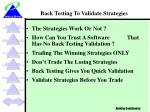back testing to validate strategies