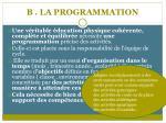 b la programmation
