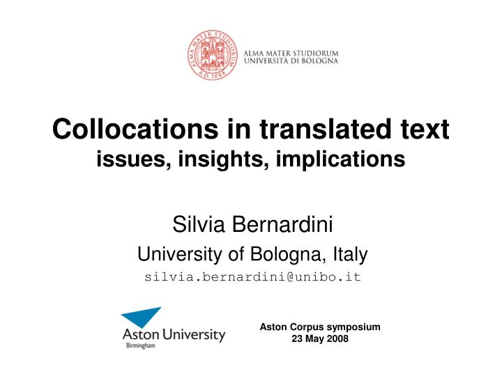collocations in translated text issues insights implications n.