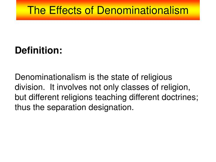 the effects of denominationalism n.