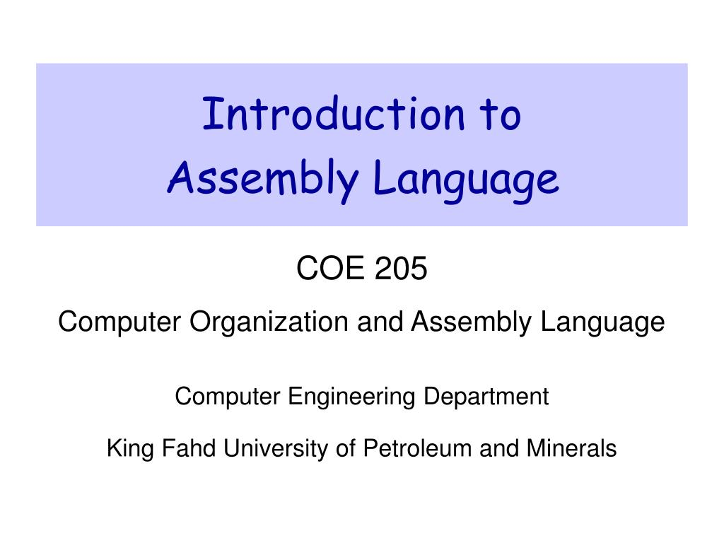 introduction to assembly language l.