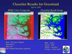 classifier results for greenland july 30 2000