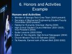 6 honors and activities example