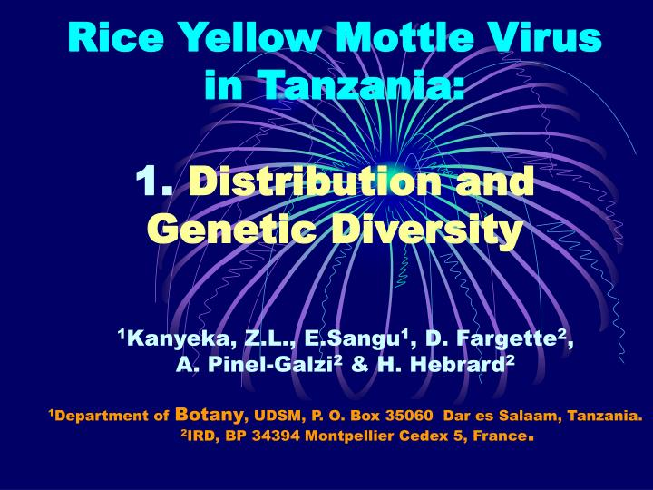 rice yellow mottle virus in tanzania 1 distribution and genetic diversity n.