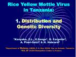 rice yellow mottle virus in tanzania 1 distribution and genetic diversity