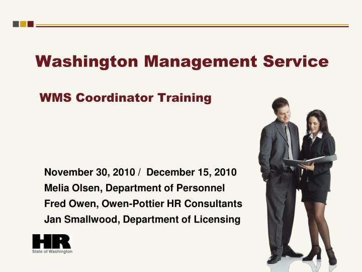 washington management service wms coordinator training n.