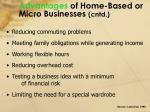 advantages of home based or micro businesses cntd