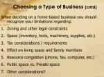choosing a type of business cntd