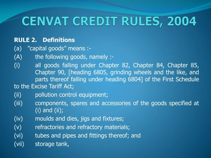 cenvat credit rules 2004 n.