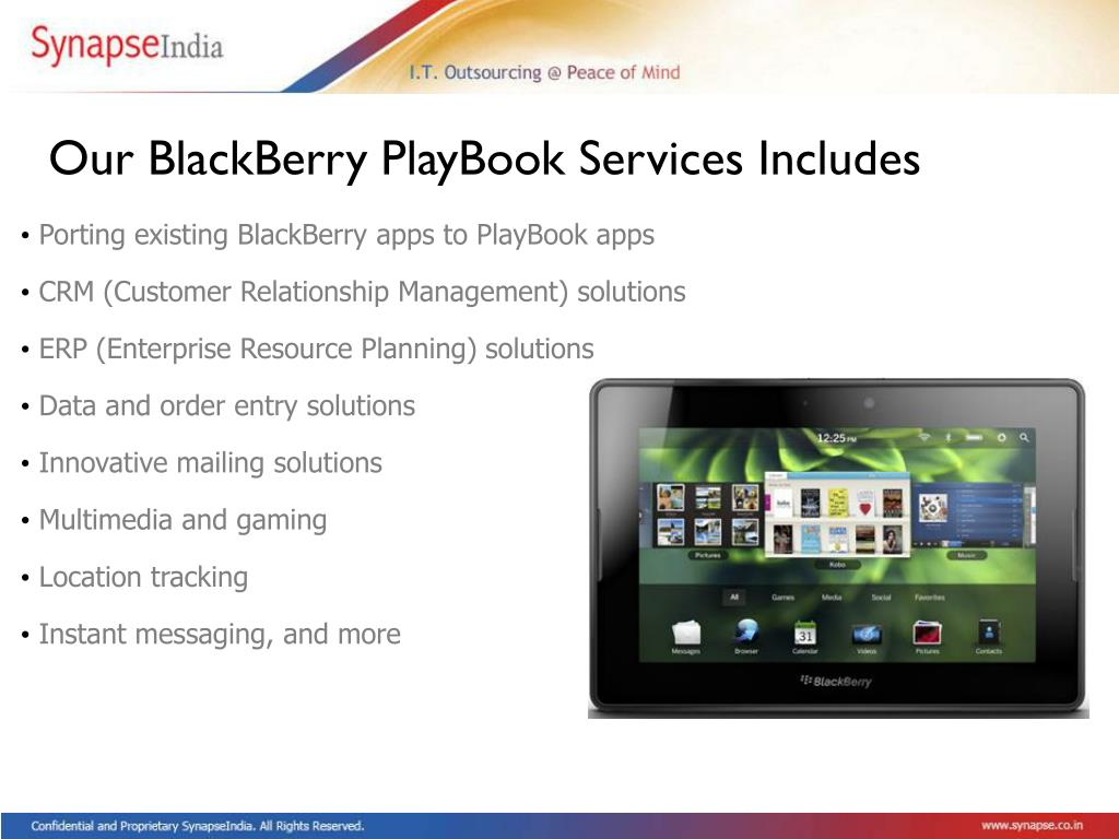 Our BlackBerry PlayBook Services Includes