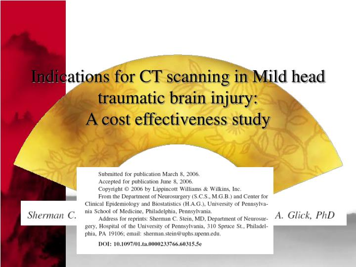 indications for ct scanning in mild head traumatic brain injury a cost effectiveness study n.