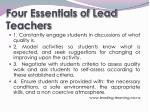 four essentials of lead teachers