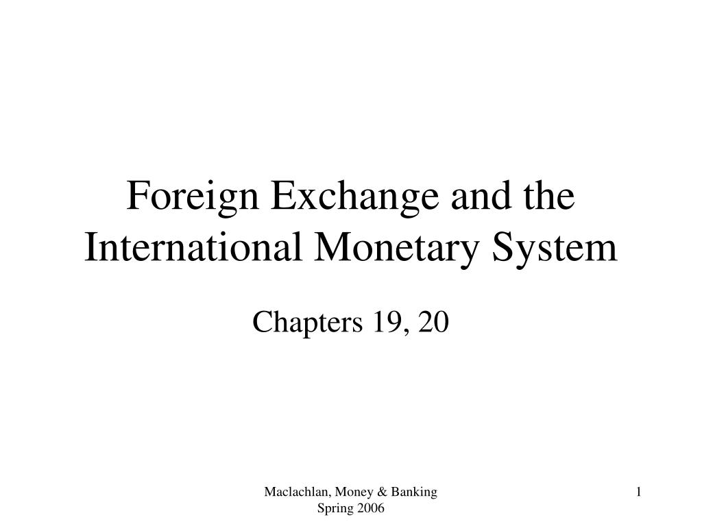 foreign exchange and the international monetary system l.