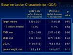 baseline lesion characteristics qca