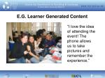 e g learner generated content