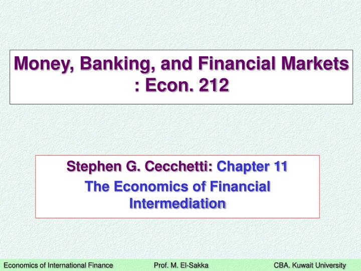 money banking and financial markets econ 212 n.