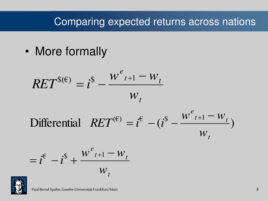 Comparing expected returns across nations