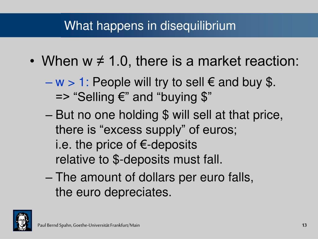 What happens in disequilibrium