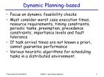 dynamic planning based