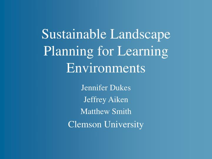 sustainable landscape planning for learning environments n.