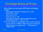 exchange rates as prices