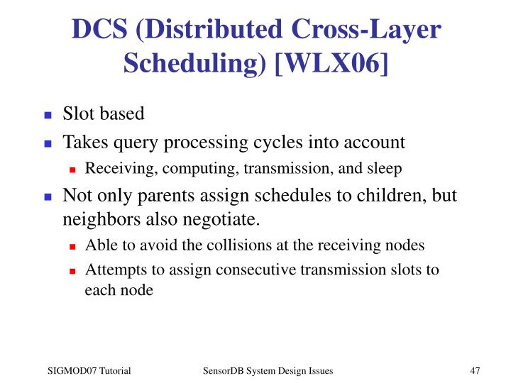 DCS (Distributed Cross-Layer Scheduling) [WLX06]