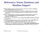 references sensor databases and runtime support