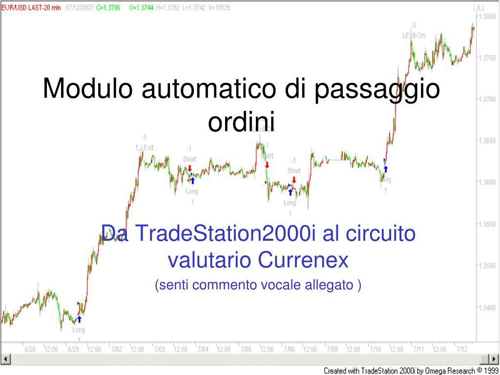 da tradestation2000i al circuito valutario currenex senti commento vocale allegato