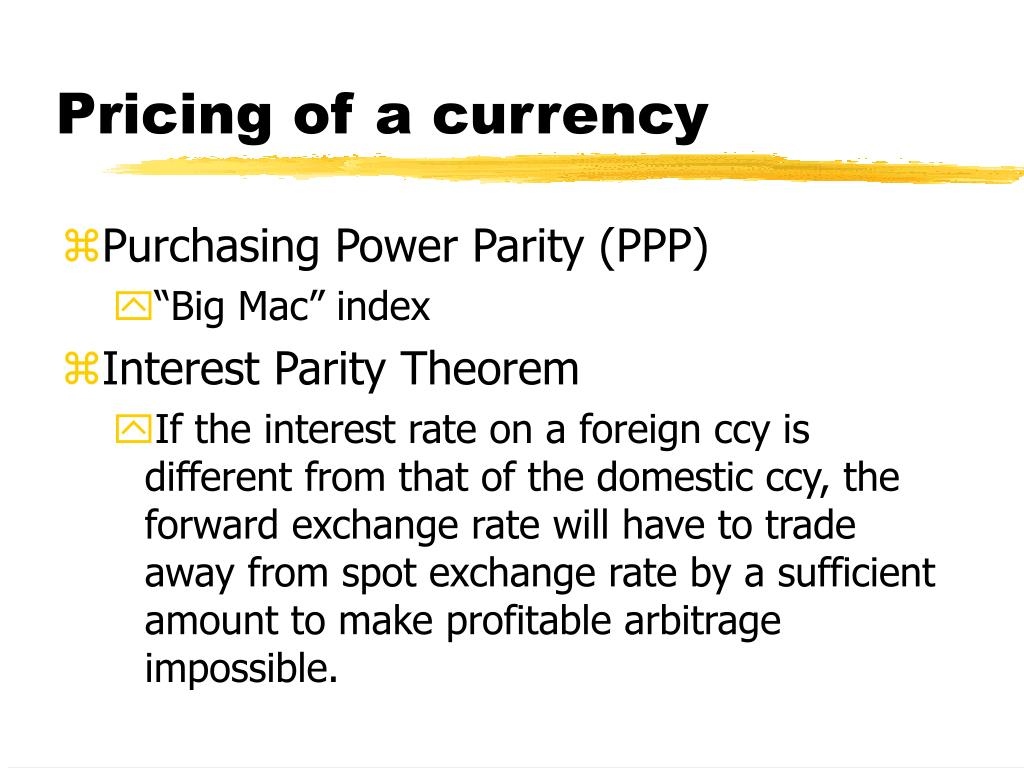 Pricing of a currency