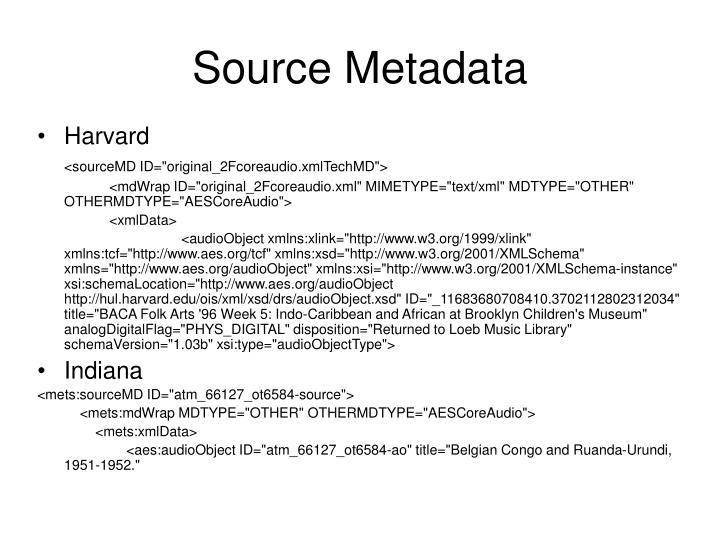 Source Metadata
