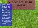 cause of decline in ph levels