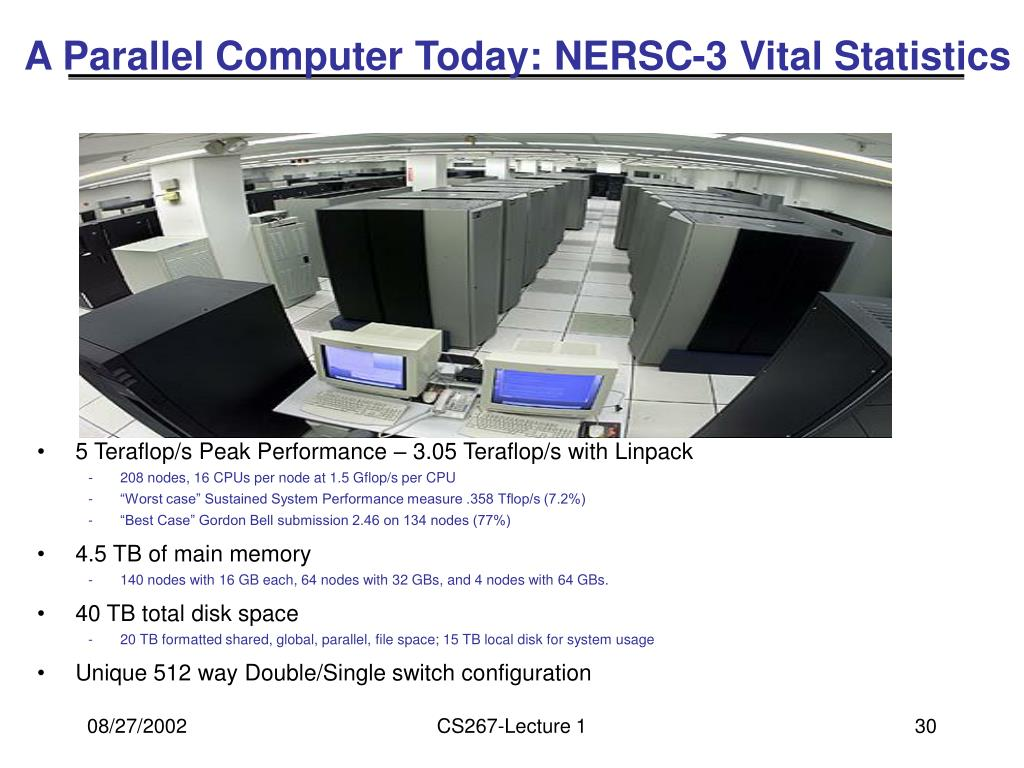 A Parallel Computer Today: NERSC-3 Vital Statistics