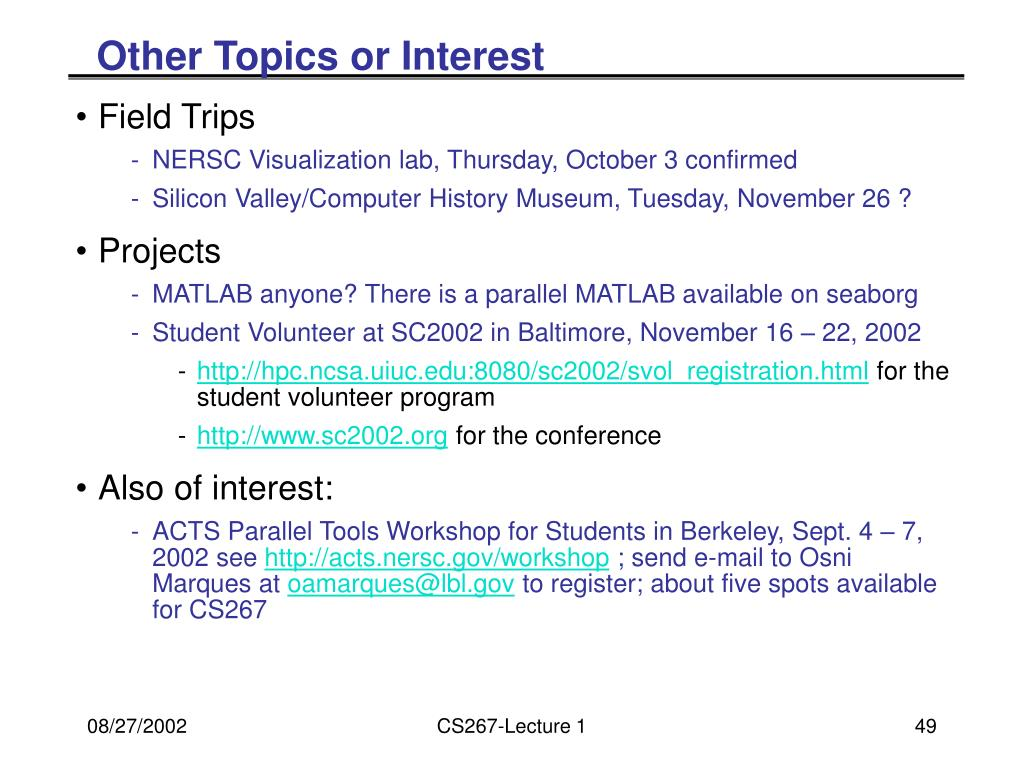 Other Topics or Interest