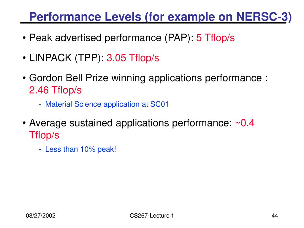 Performance Levels (for example on NERSC-3)