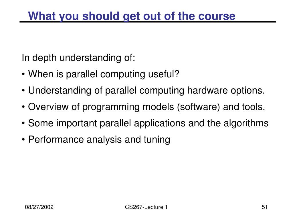 What you should get out of the course