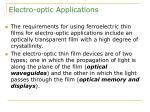 electro optic applications