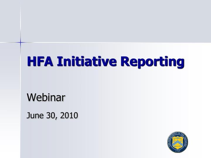 hfa initiative reporting n.