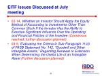eitf issues discussed at july meeting