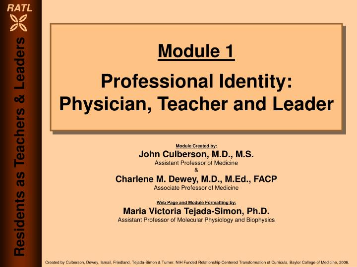 Module 1 professional identity physician teacher and leader