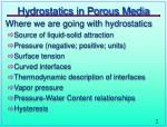 hydrostatics in porous media