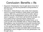 conclusion benefits ills