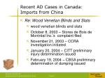 recent ad cases in canada imports from china